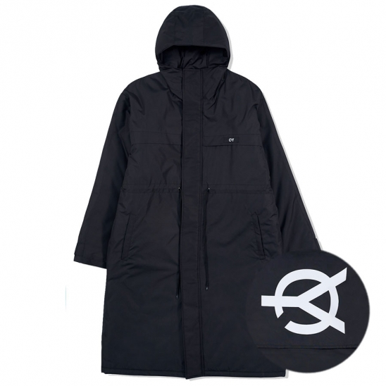 LOGO BLOCK LONG PARKA-BLACK
