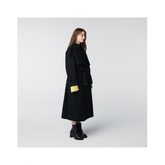 TOSE WOOL TRENCH LONG COAT BLACK