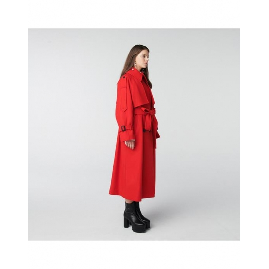 TOSE WOOL TRENCH LONG COAT RED