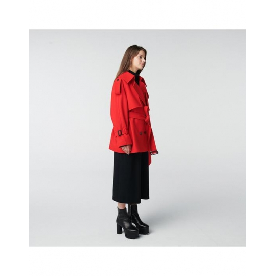 TOSE WOOL TRENCH HALF COAT RED