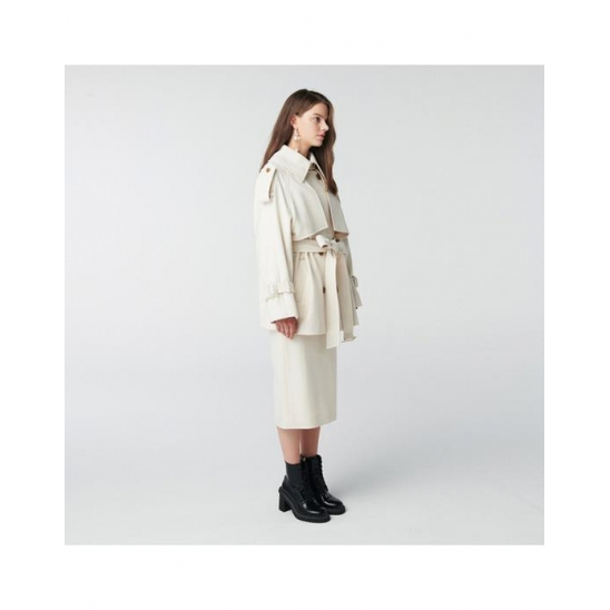 TOSE WOOL TRENCH HALF COAT IVORY