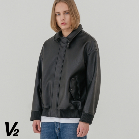 V2 Overfit leather collar blouson jumper
