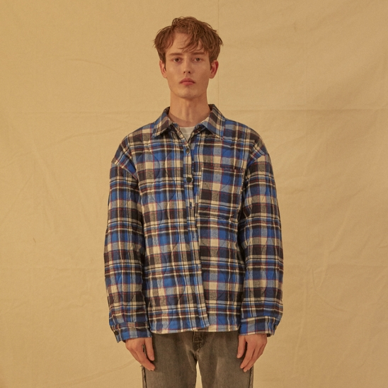 Blue check quilting jacket