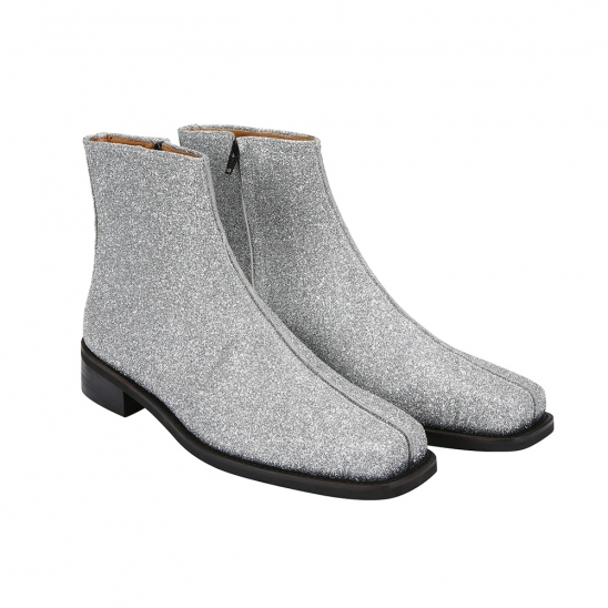 Silver Glitter Ankle Boots