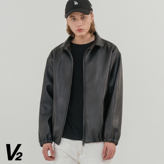 V2 Overfit leather band blouson
