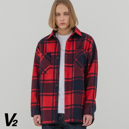 V2 Overfit wool check shirt jacket 2_red