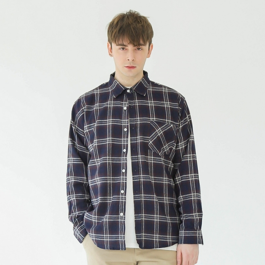 PARK OVER-FIT CHECK SHIRT (NAVY)