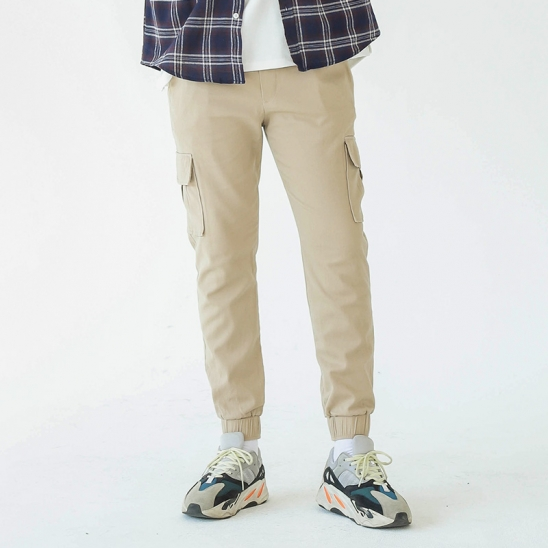 COTTON CARGO JOGGER PANTS (BEIGE)
