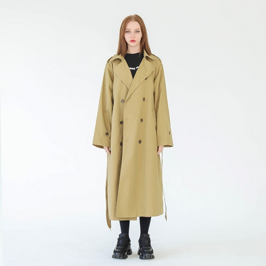 WOMAN MILANO OVER-FIT TRENCH COAT (BEIGE)