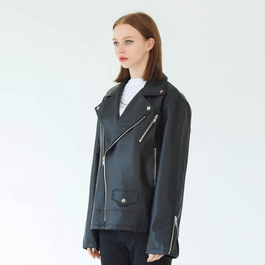 WOMAN GREAT OVER-FIT RIDER JACKET (BLACK)