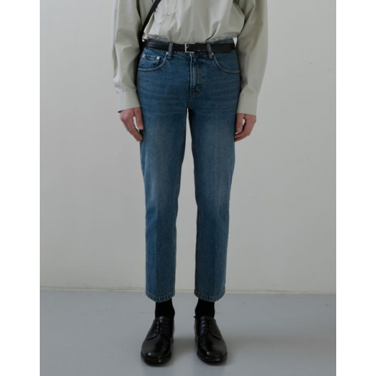 TAILORED CROPPED JEANS MID BLUE