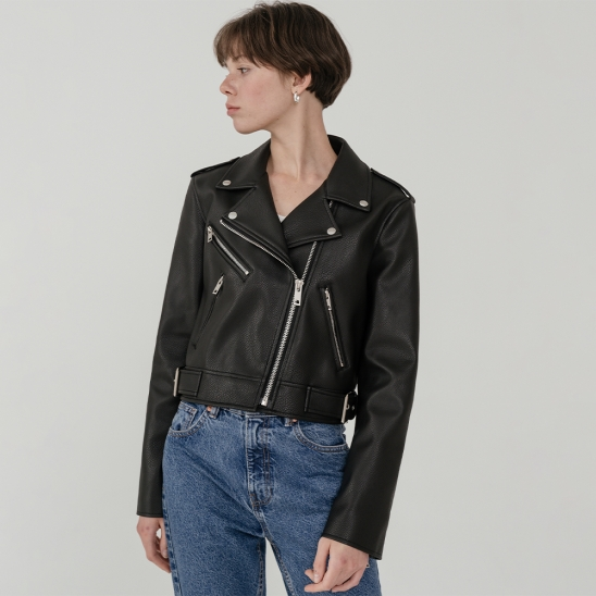 LV Crop leather biker jacket 2