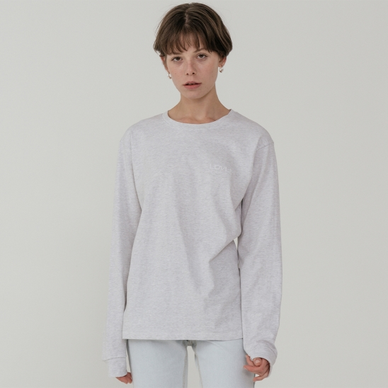 Ladyvolume logo long sleeve T-shirt_white melange