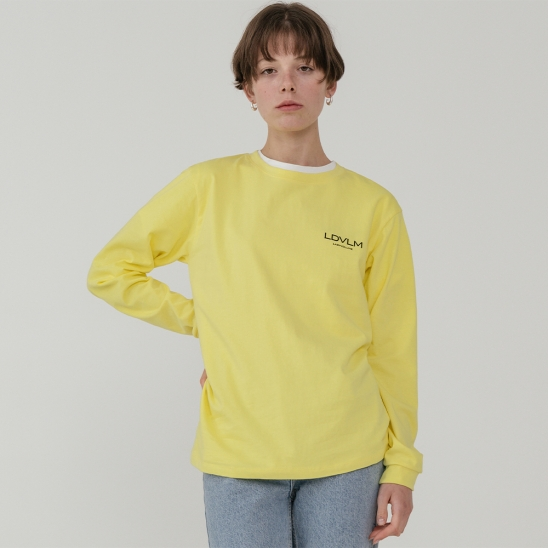 Ladyvolume logo long sleeve T-shirt_yellow