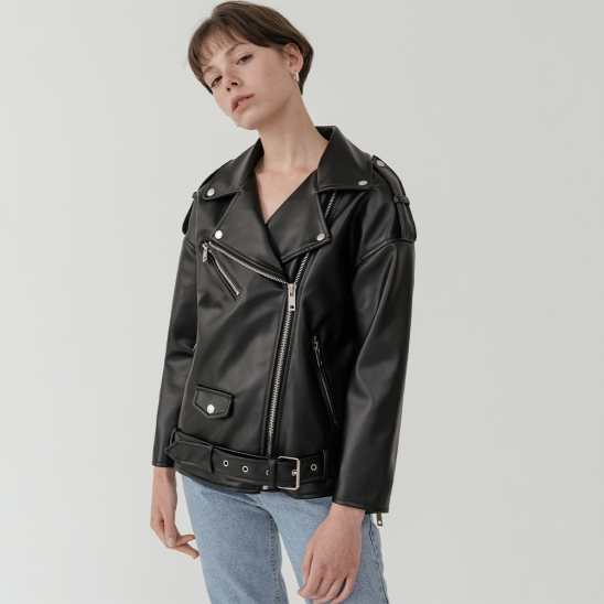 LV Overfit drop shoulder leather jacket
