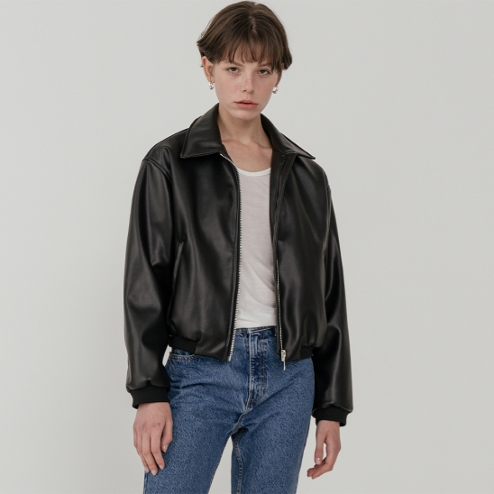 LV Overfit leather crop blouson