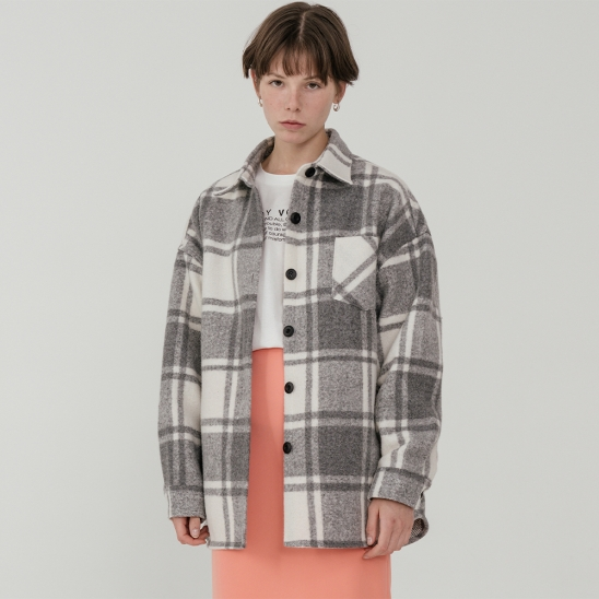 Overfit wool blend check jacket_gray