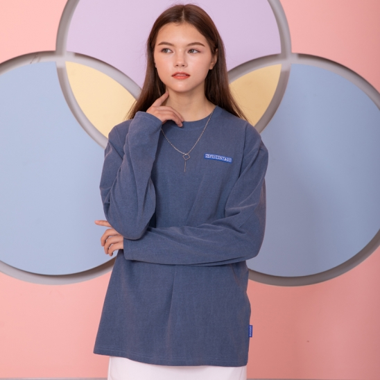 25P OVER FIT WASHING SLEEVE TEE_blue [오버핏 워싱 롱슬리브 블루]