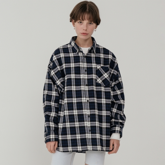 LV [남,여] Overfit flannel check shirt_navy