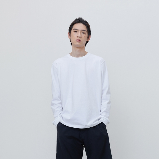 FINEST COTTON LONG SLEEVE TEE-WHITE