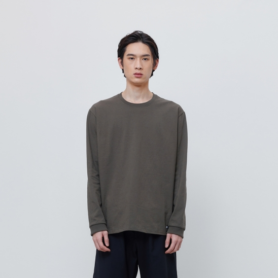 FINEST COTTON LONG SLEEVE TEE-OLIVE