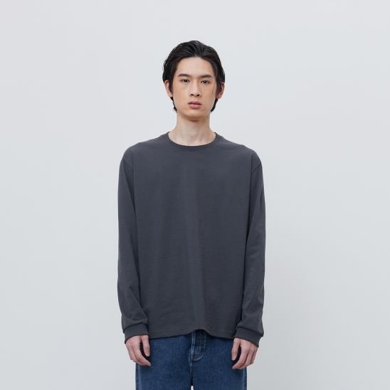 FINEST COTTON LONG SLEEVE TEE-CHARCOAL