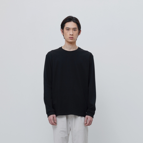 FINEST COTTON LONG SLEEVE TEE-BLACK