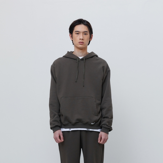 FINEST COTTON PULLOVER HOODIE-OLIVE