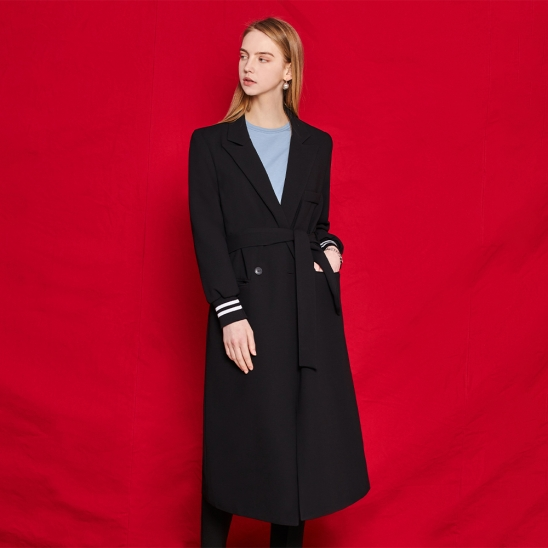 Long double jacket - black