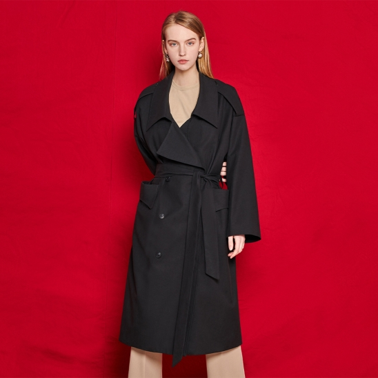 Unique trench coat - black