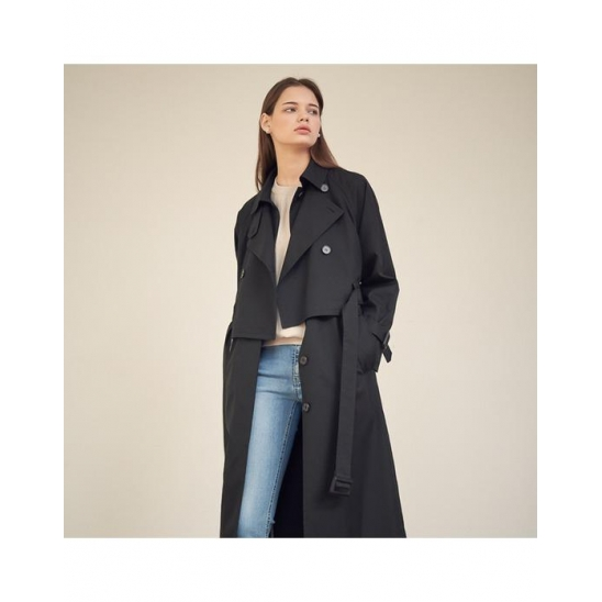 [아쿠드]Gaia Layered Trench Coat_Black