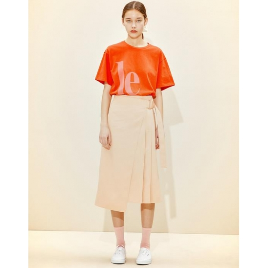 Lettering Loose-fit T-shirt  [Red]