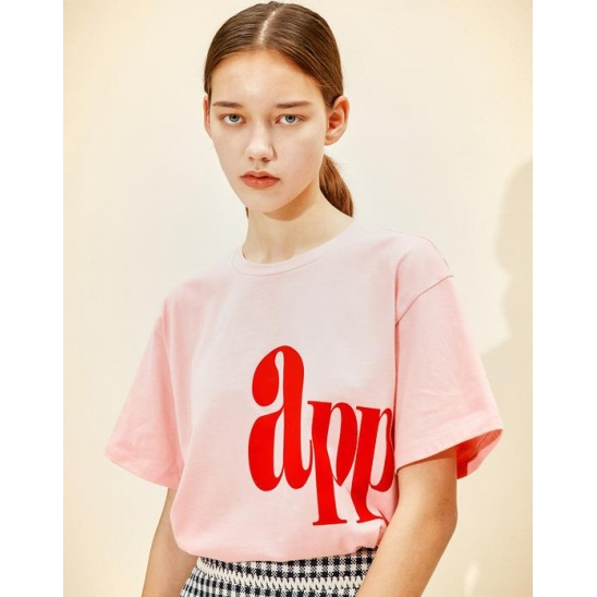 Lettering Loose-fit T-shirt  [Pink]