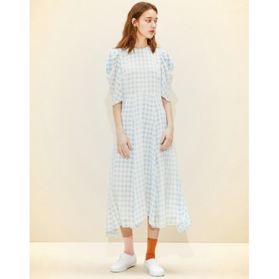 Sleeve pointed Long Dress [Blue Gingham Check]