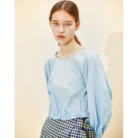 Cropped Volume Blouse [Sky Blue]