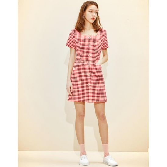 Square-neck Mini Dress [Red Gingham check]