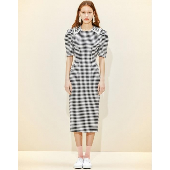 Collar-pointed Dress [Dark Navy Gingham Check]