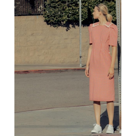 Collar-pointed Dress [Red Gingham Check]