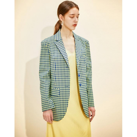 Single  Breasted Jacket [Blue Gingham check]