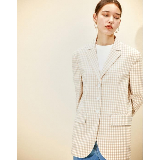 Single Breasted Jacket [Beige Gingham check]