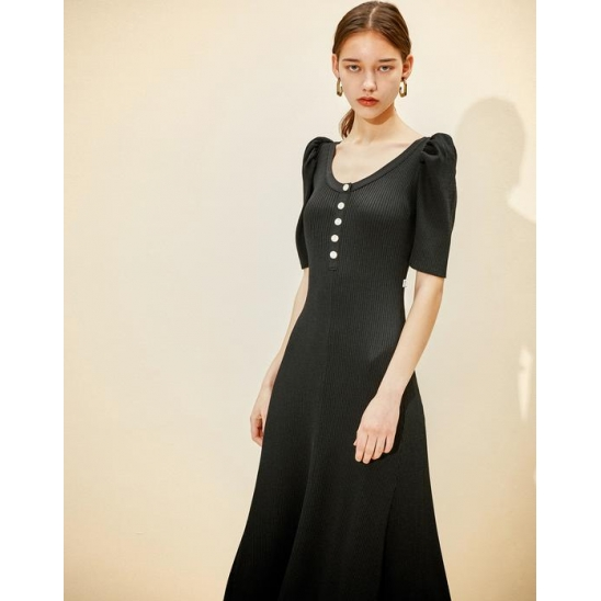 [3차 리오더] U-neck Knit Dress [Black]