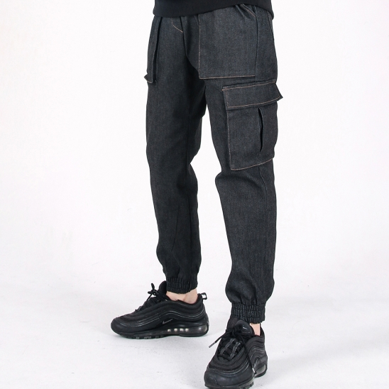 (UNISEX)M Denim Cargo-Jogger Pants(BLACK)