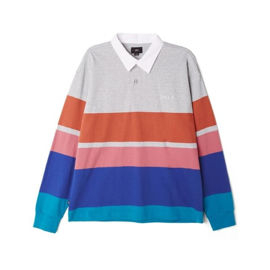 AUTOMATION RUGBY POLO LS HEATHER ASH MULTI