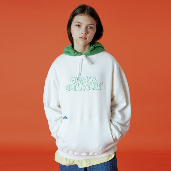 Color hood point hoodie-white