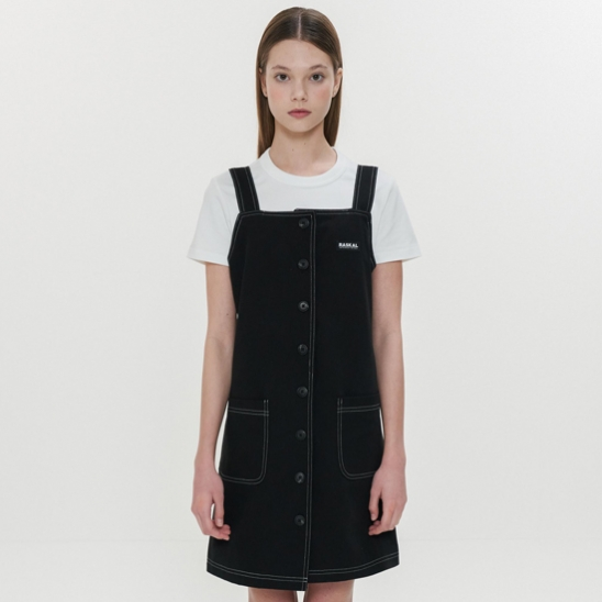 STITCH BUTTON OVERALL / BLACK