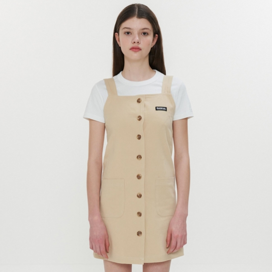 STITCH BUTTON OVERALL  / BEIGE
