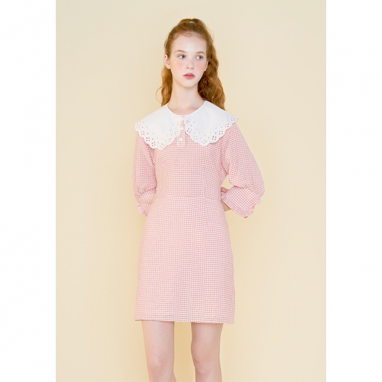 marchen collar one piece_pink check
