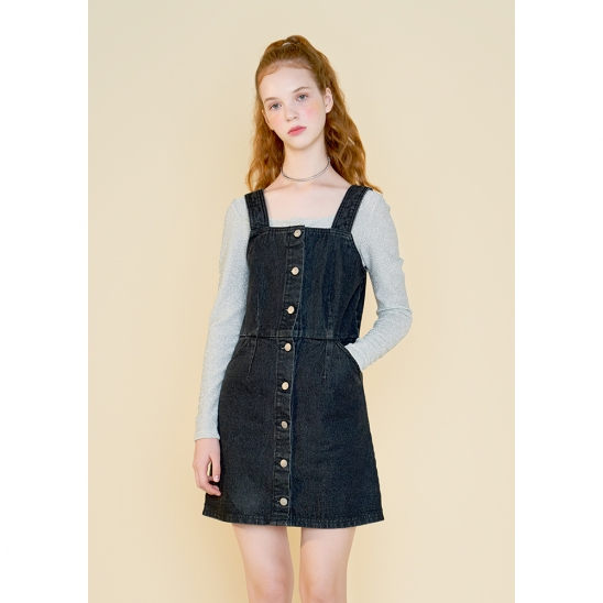 pinafore denim one piece_charcoal