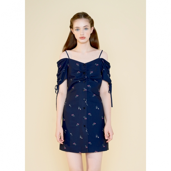 shirring ribbon one piece_navy