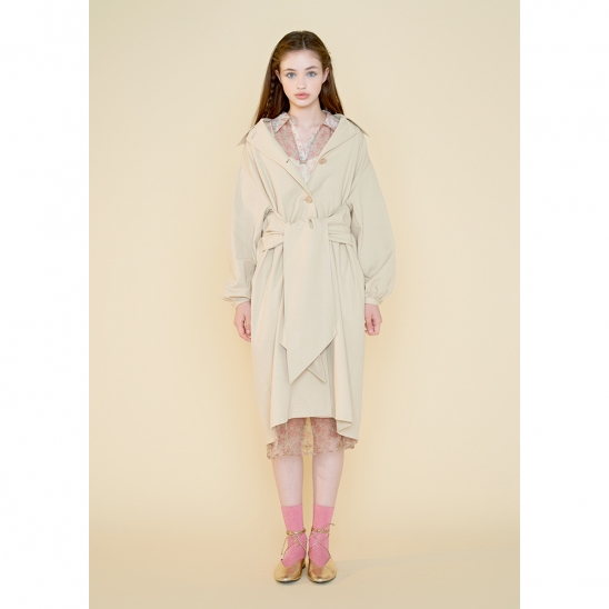 bow trench coat_light beige